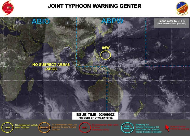 美軍目前已對它發布黃色警示,認為有可能發展成熱帶氣旋。(圖取自JTWC)