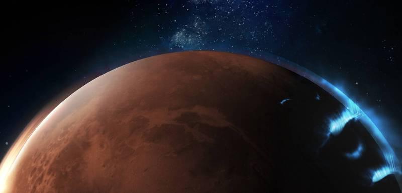 阿拉伯聯合大公國「阿聯希望號火星探測器」拍下首張火星極光照片。(圖取自阿拉伯聯合大公國Emirates Mars Mission官網)