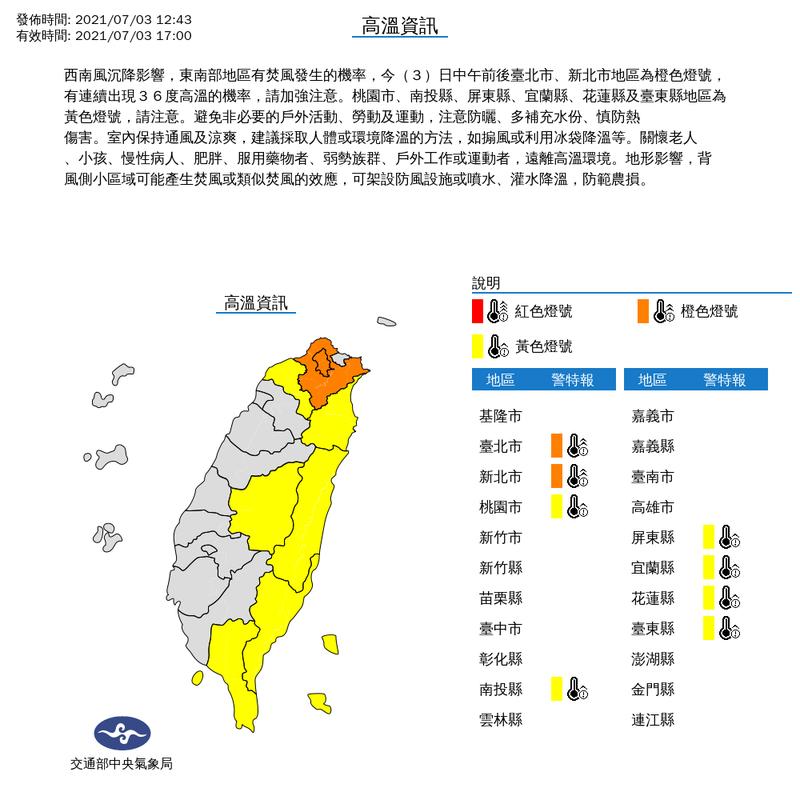氣象局中午12時43分對台北市與新北市發布高溫橙色燈號;對桃園市、南投縣、屏東縣、宜蘭縣、花蓮縣與台東縣等6縣市發布黃色燈號。(擷取自中央氣象局)