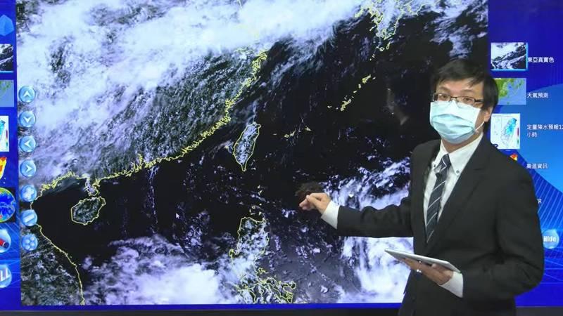 熱帶低氣壓TD07持續增強,不排除形成輕度颱風。。(擷取自氣象局天氣預報直播)