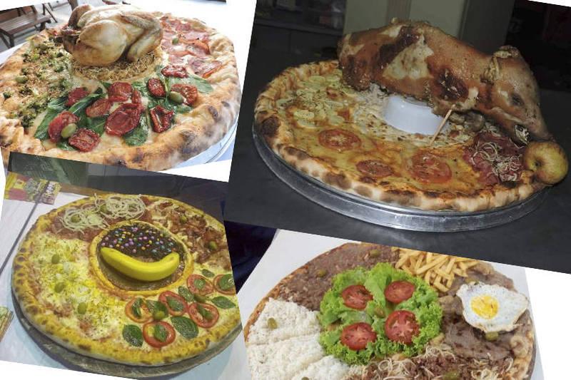 一位從台灣嫁到巴西的網紅近日PO出巴西的超狂披薩,笑稱「如果義大利人看到會發瘋」。(本報合成)
