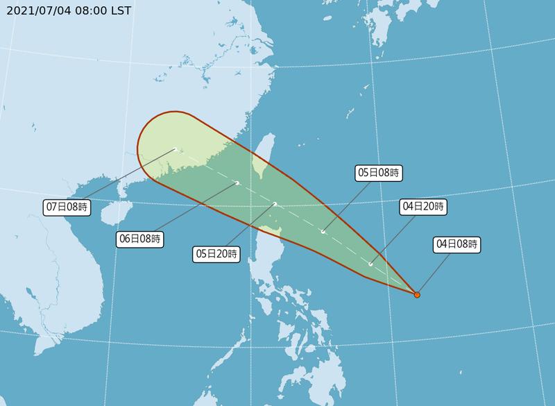 氣象局發布熱帶低壓5日預報,「TD07」明將通過巴士海峽,有機會增強為颱風。(圖擷自中央氣象局)
