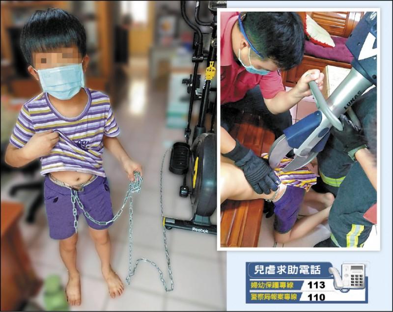 父外出工作以鐵 鍊環繞男童腰際 並上鎖,8歲童 致電母親求救, 消防人員以油壓 剪剪斷鐵鍊協助 脫困。為保護兒 童圖經特殊處理 。 (民眾提供)