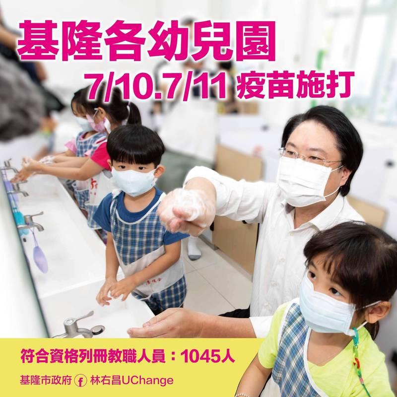 基隆市政府為了增加幼兒園群體免疫力,規劃公私立幼兒園老師、職員共1045人,10日、11日到市立體育館接種疫苗。(基隆市政府提供)