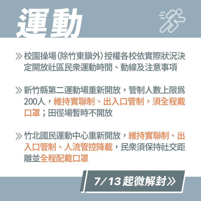 7月13日起微解封,新竹縣政府發布詳細解封措施。(新竹縣政府提供)