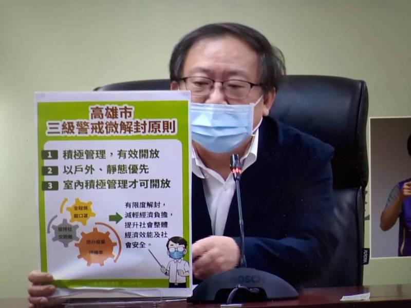 高雄醫學大學公共衛生學系教授莊弘毅,說明高雄微解封相關措施。(記者王榮祥翻攝)
