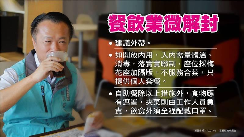 原本7月13日微解封可有條件內用,但嘉義縣、市政府商議後決議禁止餐廳內用。(嘉義縣政府提供)