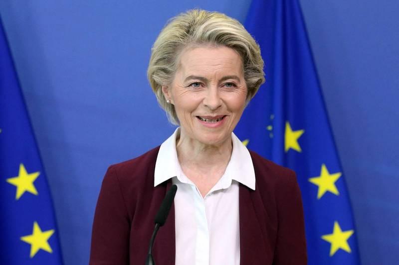 歐盟執委會主席馮德萊恩今日宣布,在新一批疫苗派發完成後,歐盟的成年人接種率可望達到至少70%。(法新社)