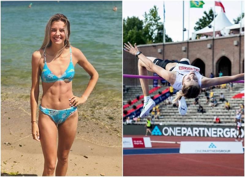 年僅19歲烏克蘭跳高選手馬胡琪可(Yaroslava Mahuchikh)接下來將挑戰東京奧運,被外界視為熱門奪牌人選,除了場上表現,她亮麗的外表也引發關注,更有「長腿女神」之稱。(左翻攝自馬胡琪可IG,右法新社,本報合成)