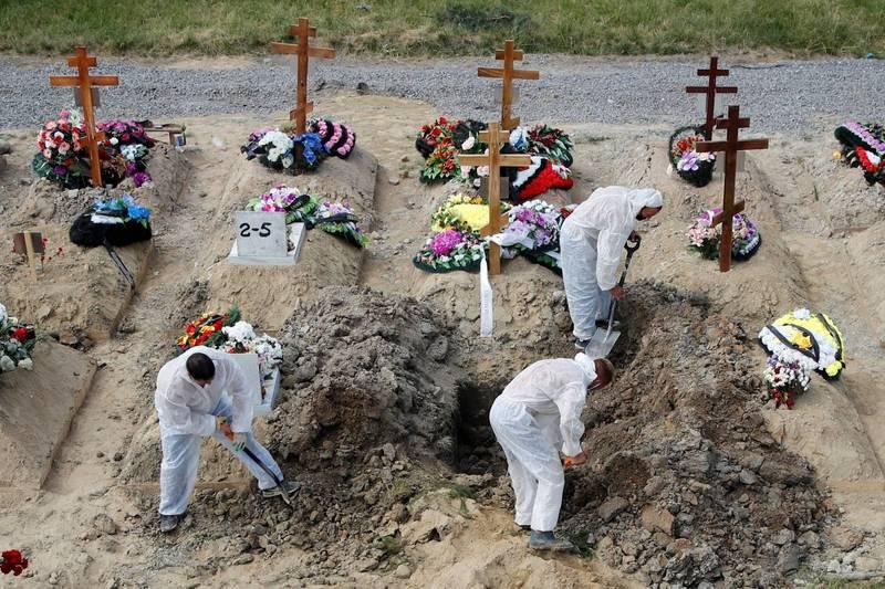 俄羅斯今日通報破紀錄的752名染疫死亡病例,累積死亡人數則達到14萬2253人。當局指出,6月全國病故人數較去年同期增加近14%,主要是高傳染性的Delta變異株持續蔓延所致。圖為聖彼得的墓園工作人員穿著防護衣掘墳的畫面。(路透)