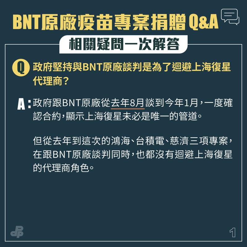 政府跟BNT原廠從去年8月談到今年1月,一度確認合約,顯示上海復興未必是唯一管道。(圖取自民進黨臉書)