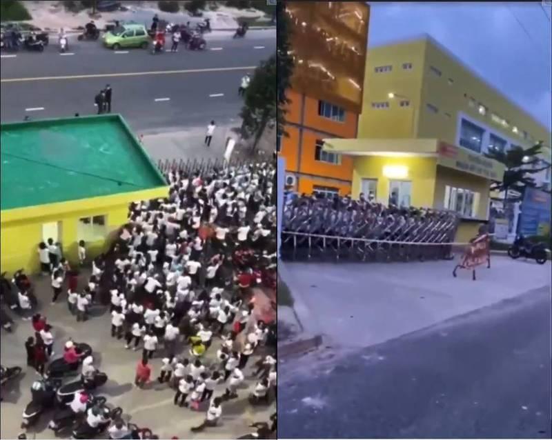 一間位於越南東南部省份的台資企業安普新國際有限公司,近日傳出1名員工確診,據傳數百名員工在聽聞消息後竟驚恐的推開公司的鐵門逃跑。(圖擷自推特,本報合成)