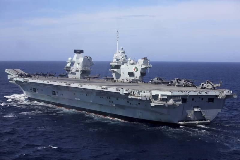 英國航空母艦「伊莉莎白女王號」今年5月在葡萄牙外海,與北大西洋公約組織(NATO)盟國舉行聯合演習。(美聯社檔案照)