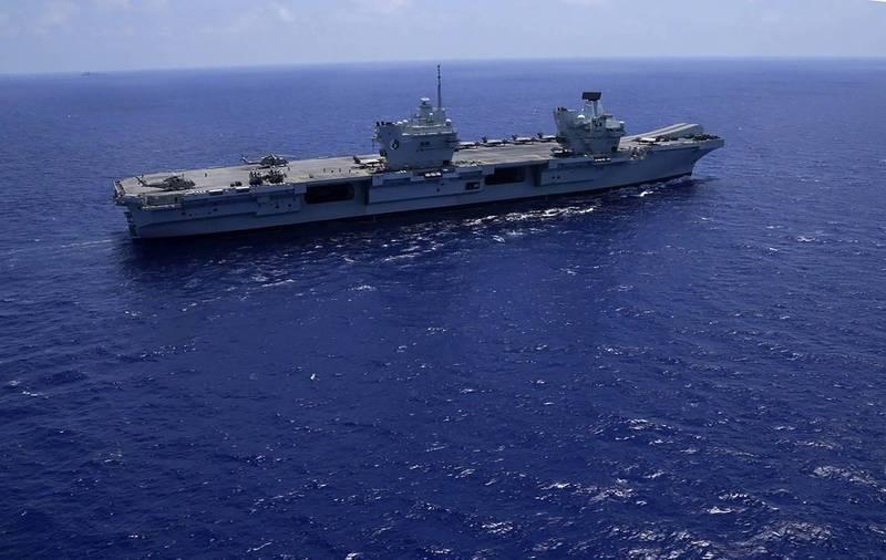 英國皇家海軍伊莉莎白女王號(HMS Queen Elizabeth)航空母艦將在東海與日本海上自衛隊聯合軍演。(美聯社)