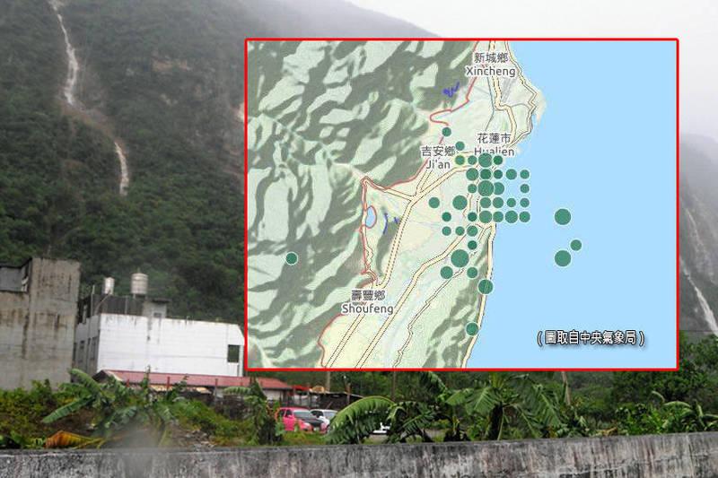 中央氣象局長鄭明典在臉書貼出近40起「地震震央圖」,並點出未來下大雨要「特別小心」。(圖取自中央氣象局、資料照;本報合成)