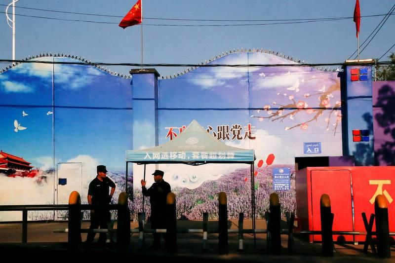 美國聯邦參議院14日一致通過「防止維吾爾人強迫勞動法案」(Uyghur Forced Labor Prevention Act)。圖為被中國稱作新疆職業訓練中心的門口。(路透資料照)