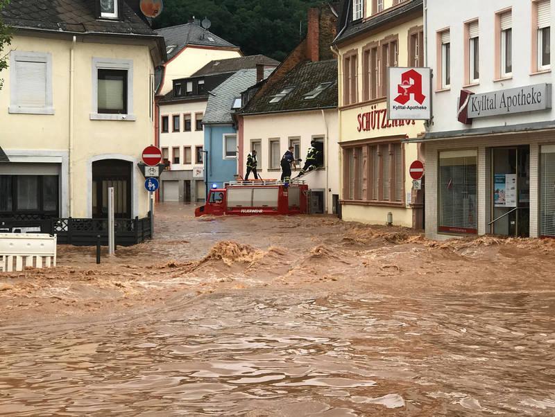 德國西部暴雨成災。(法新社)