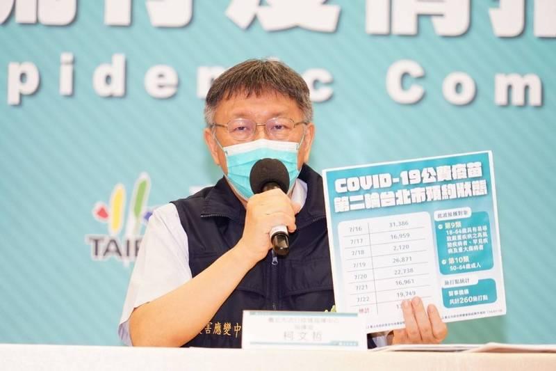 柯文哲說,陳建仁在解盲前應該也不知道打到的是安慰劑。(台北市政府提供)