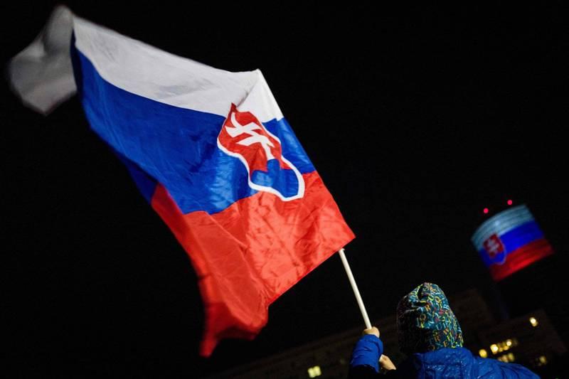 歐盟今天表示,斯洛伐克捐贈1萬劑給台灣。圖為斯洛伐克國旗。(法新社檔案照)