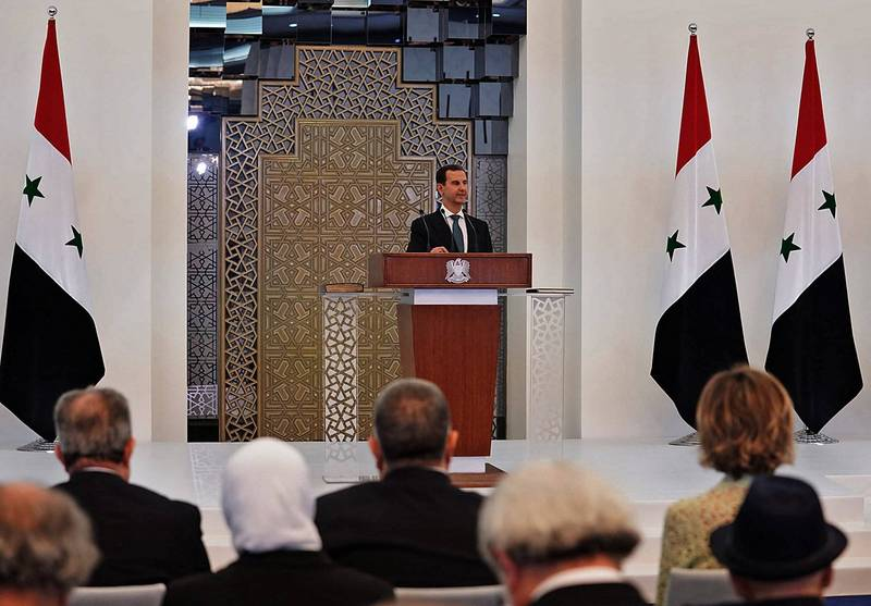 敘利亞總統阿薩德宣誓就職,展開第4個總統任期。(法新社)