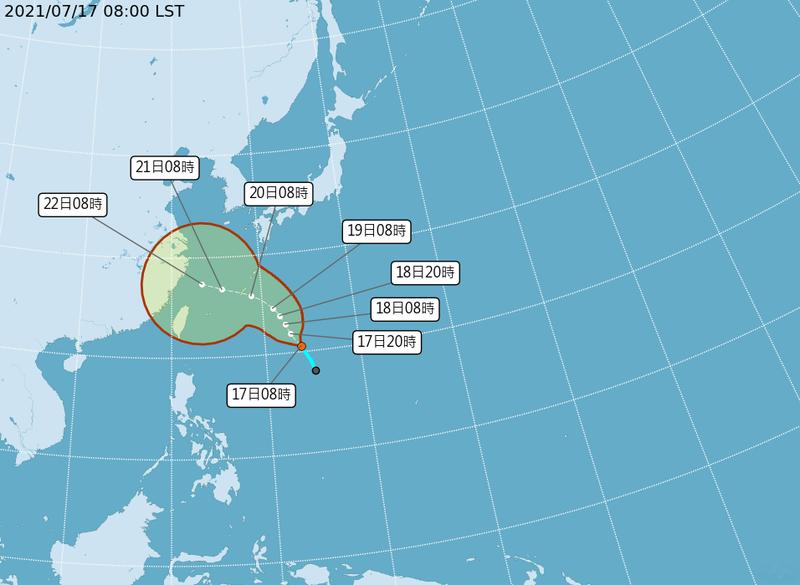 中國在浙江省外海進行為期6天的大範圍軍演,但即將形成的烟花颱風,其移動路徑恰巧往中國軍演區域前進。(圖擷自中央氣象局)