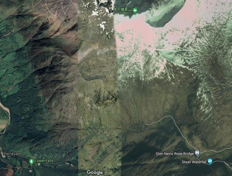 旨在保護荒野的蘇格蘭「約翰·繆爾信托基金」(John Muir Trust)15日警告公眾,企圖攀登本尼維斯山的民眾中,愈來愈多人使用谷歌地圖來導航相關路線,但他們獲得的資訊,卻是一條極其危險的登頂路線。(擷取自GoogleMap服務)
