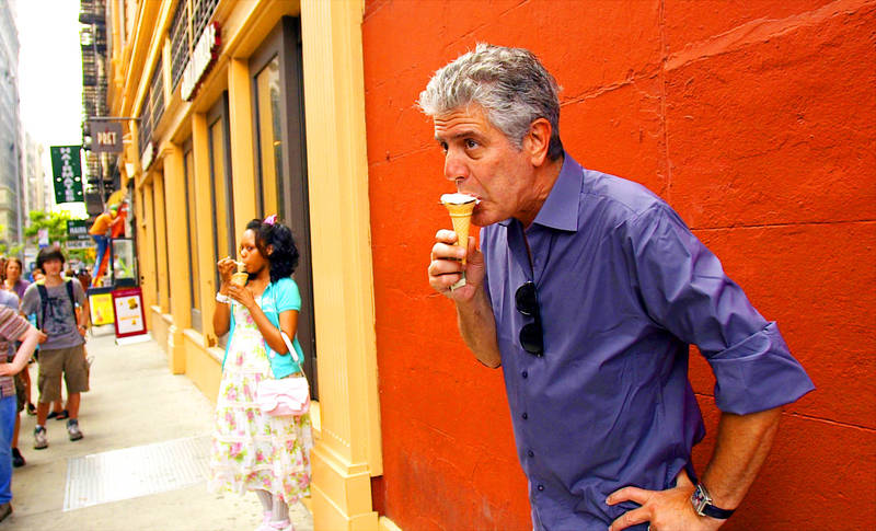 Anthony Bourdain is filmed eating ice cream in Morgan Neville's documentary Roadrunner: A Film About Anthony Bourdain. Photo: AP