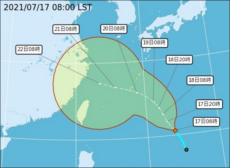 台灣東方海面上的熱帶性低氣壓,最快今日有望形成今天編號第6號颱風烟花。(圖:取自氣象局網站)
