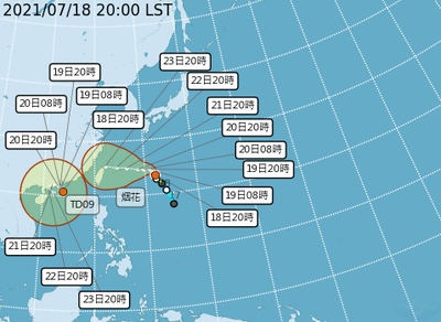 今年第6號颱風烟花今天晚上8點中心位置在北緯23.5度,東經132度,以每小時7公里速度,向北北西進行。(圖擷取自中央氣象局)