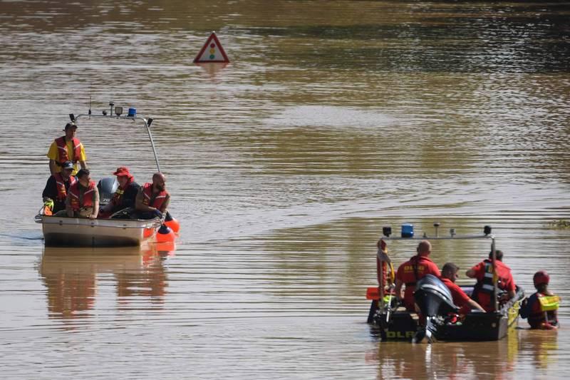 自上週三以來,德國至少有156人因這場堪稱史上最嚴重的洪災而喪生。光是在萊茵蘭-普法茲邦就有110人死亡,670受傷。(法新社)