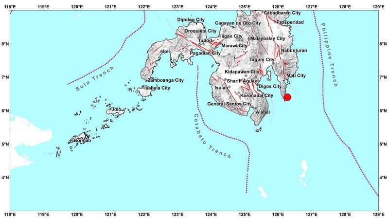 菲律賓南部的達沃區發生芮氏規模5.4地震,預計會有餘震並造成損害。(圖擷自Philippine Institute of Volcanology and Seismology網站)