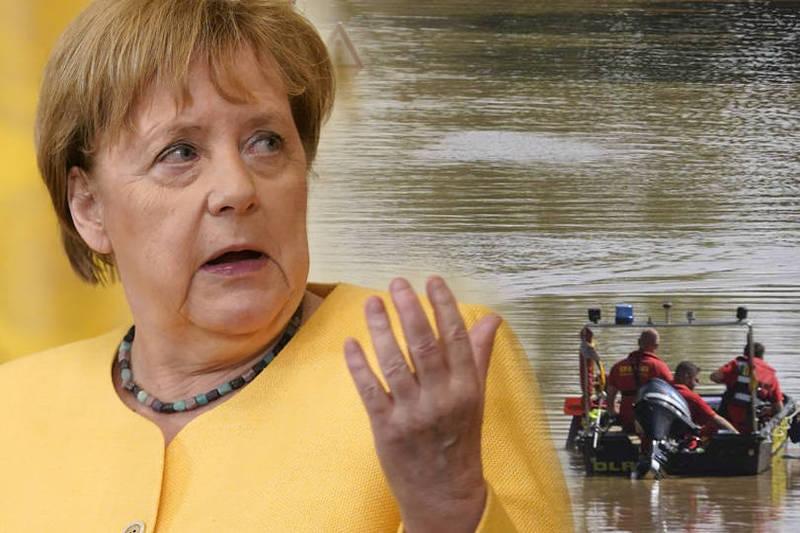 梅克爾週日計畫前往德國2個災情萊茵蘭-普法茲邦(Rhineland-Palatinate)的舒爾德村(Schuld)勘災。(本報合成)