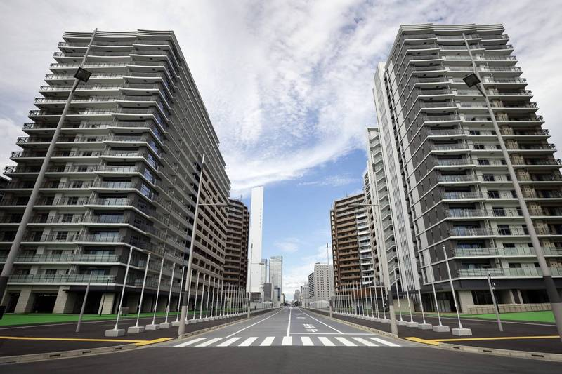 東京奧運組委會表示,選手村首次出現運動員染疫病例,共有2名海外選手中鏢。奧運選手村集合住宅示意圖。(彭博)