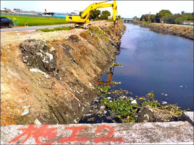 雲林縣河川排水瓶頸點清淤工程已經完成。(雲林縣政府提供)