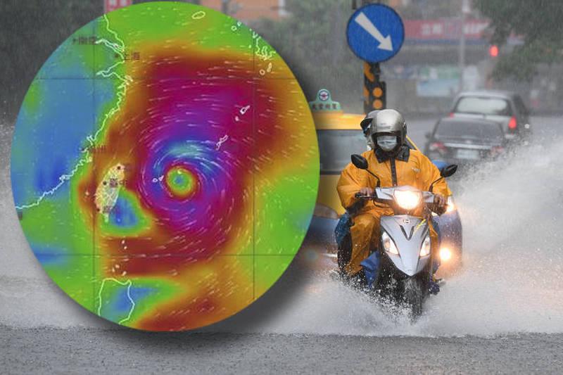 鄭明典說:「預期明天上半天就可能發布海上颱風警報,風雨衝擊可能不小」。(本報合成)