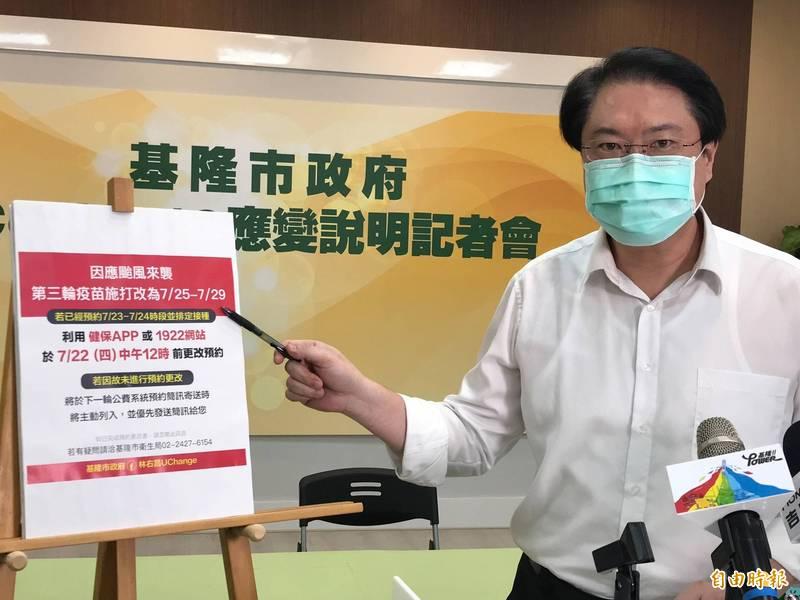 基隆市長林右昌說因應颱風,23、24日停打疫苗(記者盧賢秀攝)