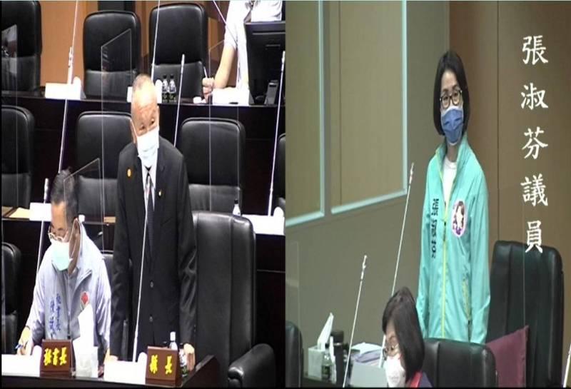 縣議員張淑芬,今天進行縣政總質詢,她請縣長徐耀昌為自己2任縣長打分數。(記者彭健禮翻攝)