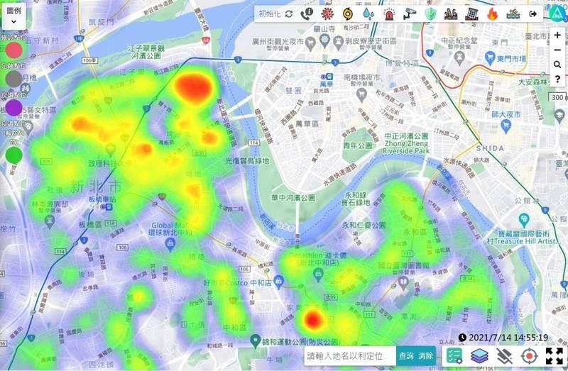 新北市運用「全災型智慧指揮監控平台(EDP)」,透過大數據分析,找出疫情熱區,執行防疫策略。(新北市消防局提供)