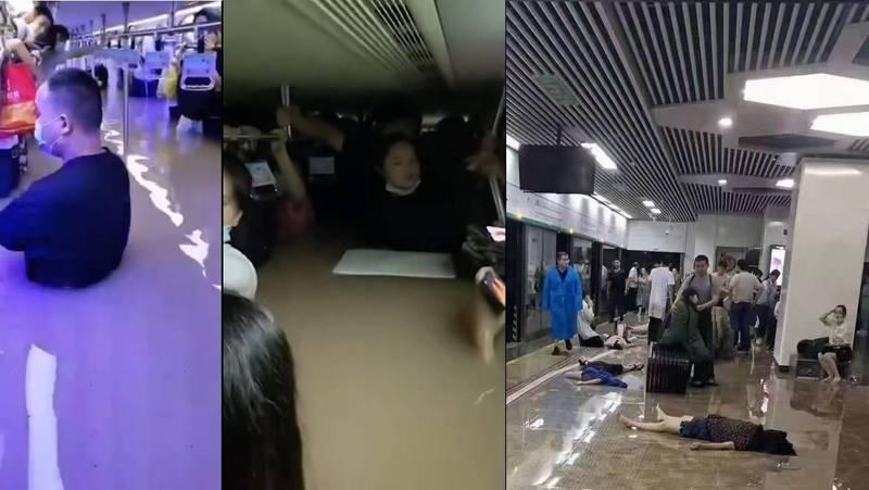 中國河南鄭州出現暴雨,昨下午出現每小時雨量達201.9毫米,不僅癱瘓交通也造成民眾傷亡,官方雖稱已陸續救出受困民眾,外界仍質疑官方說假話、預報失準。(圖擷自推特,本報合成)