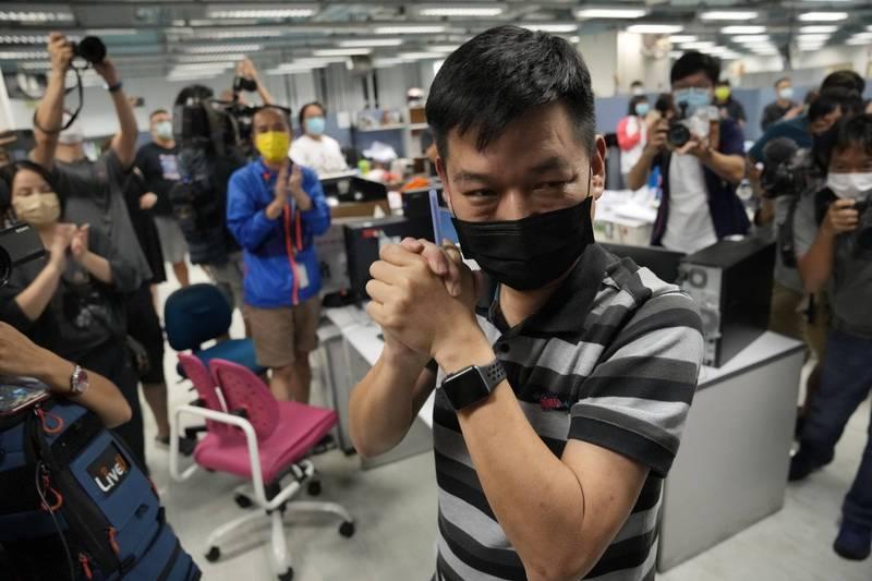 前蘋果日報執行總編輯林文宗(見圖)今天被香港警方國家安全處依「港區國安法」拘捕。(美聯社資料照)