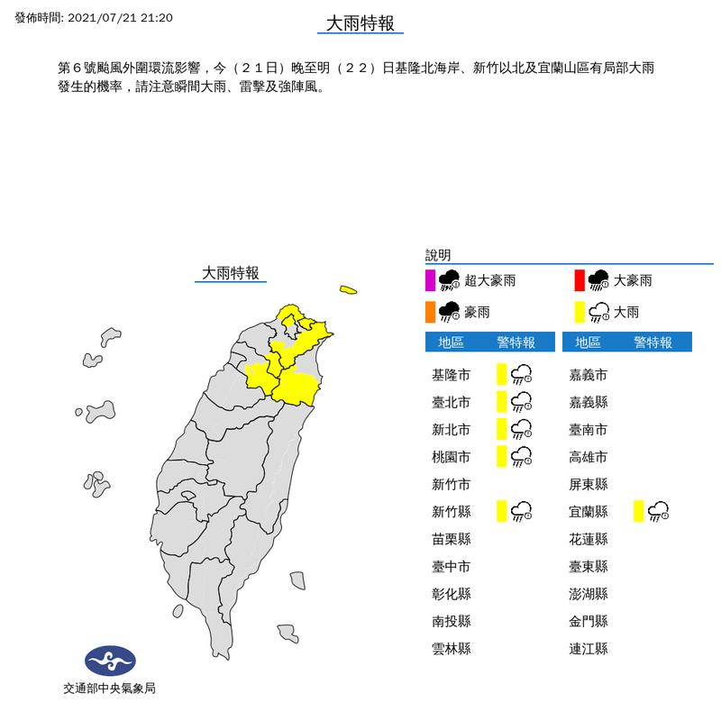 氣象局針對基隆市、台北市、新北市、桃園市、新竹縣及宜蘭縣等6縣市發布大雨特報。(圖擷取自中央氣象局)