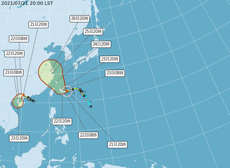 烟花颱風週五、週六會影響北台灣最為明顯,由於颱風位在季風低壓環流內,可能會受到太平洋高壓的強弱、低壓環流或是未來可能發展的熱帶系統影響,路徑仍處於不確定性。(圖擷取自中央氣象局)