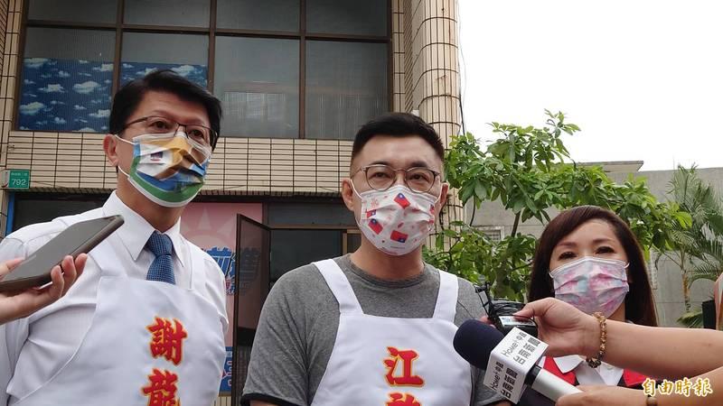 國民黨主席江啟臣要求衛福部長陳時中公開國產高端疫苗審查過程。(記者洪瑞琴攝)