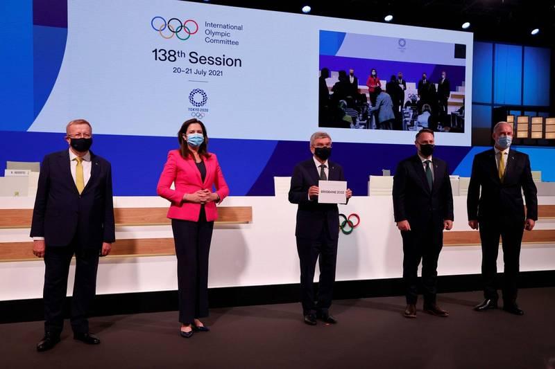 國際奧會昨晚在東京投票,由澳洲昆士蘭州首府布里斯本(Brisbane)拿下2032年奧運主辦權。(路透)