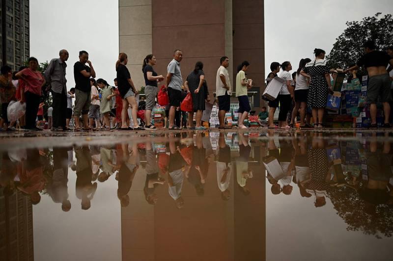 中國河南省被暴雨狂灌,鄭州災情慘重。(法新社檔案照)