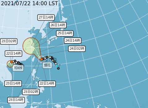 天氣風險公司強調,目前預報的颱風路徑已經相對穩定,颱風即將開始轉向西北。(圖取自中央氣象局)