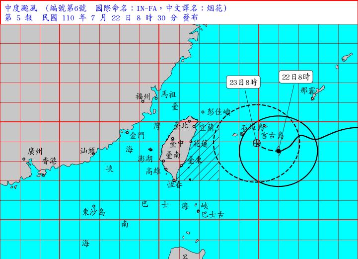 氣象局上午8時30分發布海上颱風警報第5報,中颱烟花8時的中心位置在北緯23.5度,東經126.0度,即在台北東南東方約490公里之海面上,向西轉西北西緩慢進行。(擷取自中央氣象局)