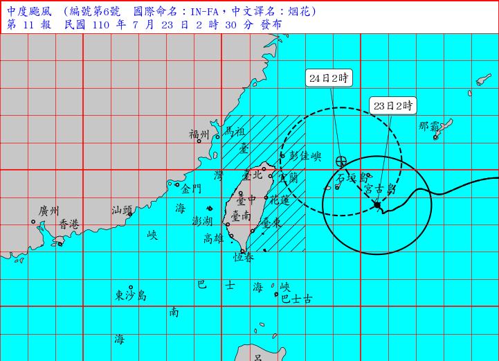中颱烟花23日凌晨2時仍在日本宮古島南方海面,以時速10公里朝西北方往台灣東部海面前進。(擷自氣象局網站)