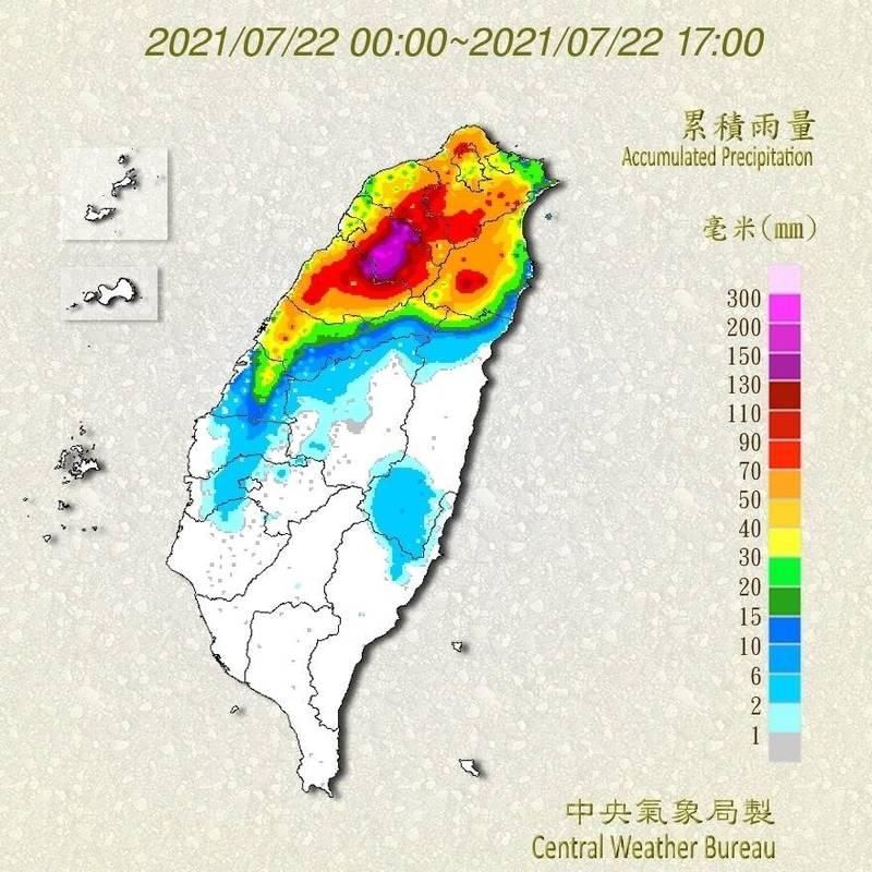 受颱「烟花」影響,今天桃園、新竹及宜蘭山區累積較多雨量,請民眾注意。(圖擷取自中央氣象局)