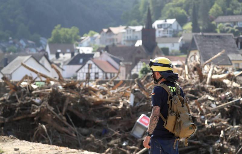西歐近日遭世紀洪災侵襲,德國災情慘重。(歐新社)